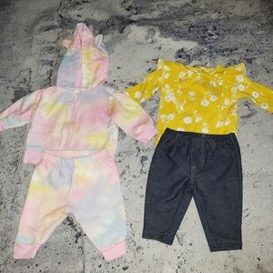 Carter's & Baby Place. 4pc Baby Girl Outfit Bundle